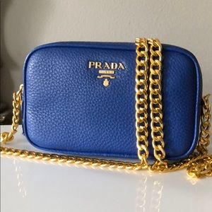 Prada Royal blue Leather Cross Body Bag